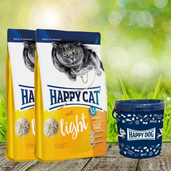 Happy Cat Supreme Adult light 2 x 10 kg + Happy Cat Futtertonne 20 Liter