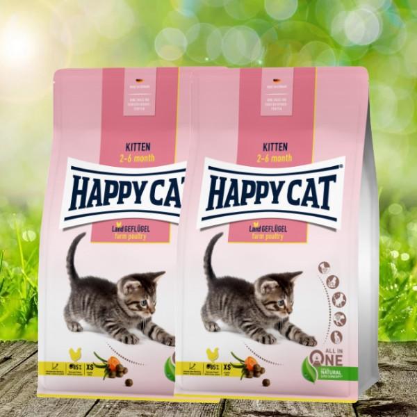 Happy Cat Young Kitten Land-Geflügel 2 x 4 kg
