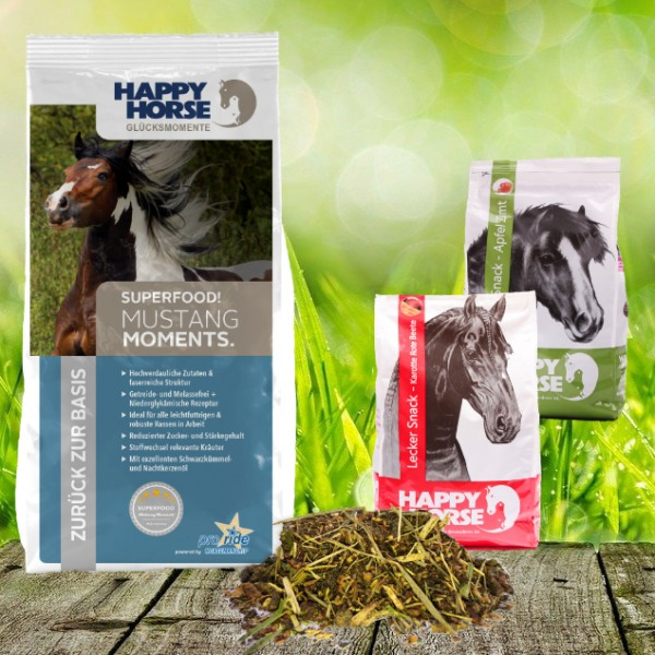"""Happy Horse Superfood """"Mustang"""" 14 kg + 2 x 1 Kg Happy Horse Lecker Snack"""