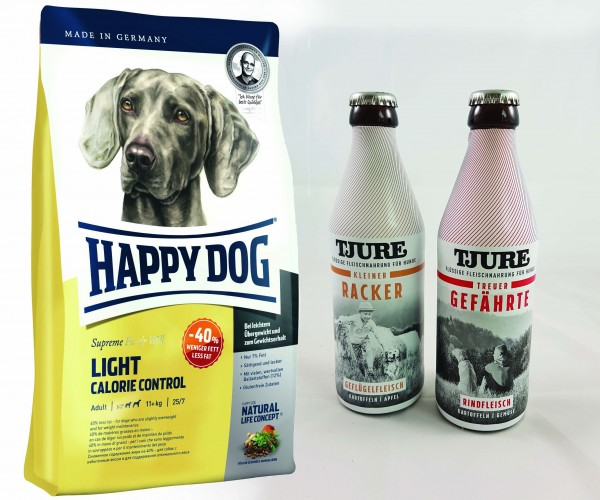 Happy Dog Fit & Well LIGHT Calorie Control 12,5 kg + TJURE für Hunde - Doppelpack Treuer Gefährte &