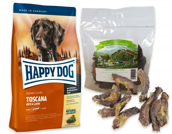 Hähnchenhälse 3x100 gr. + Happy Dog Sens. Supreme Toscana 2 x 12,5 kg