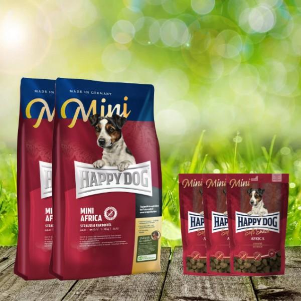 8 kg Happy Dog Supreme MINI Africa 2 x 4 kg + 3 x 100 g. Happy Dog Soft Snack MINI Africa geschenkt