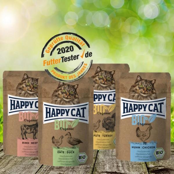 Happy Cat Bio Organic Pouches 4 verschiedene Sorten - 24 x 85 Gramm