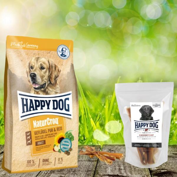 Happy Dog Premium NaturCroq Geflügel Pur und Reis 15 kg + HD Rinderkopfhaut 500 g