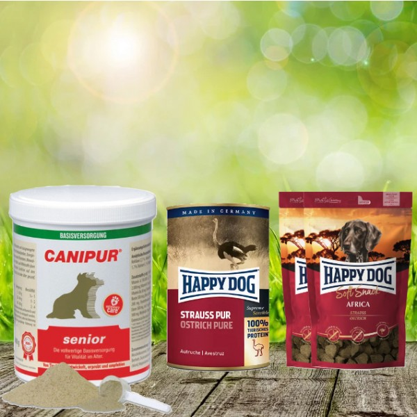 Canipur senior 500 g + 2 HD Soft Snack Afrika + 1 HD Strauß pur 400 g