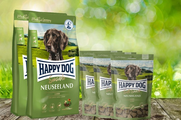 25 kg Happy Dog Supreme Neuseeland 2 x 12,5 kg + 3 x 100 g. Happy Dog Soft Snack Neuseeland geschenk