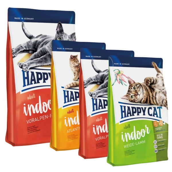 Happy Cat INDOOR Voralpen Rind 10 kg + 3 x 300g. Probierbox sortiert