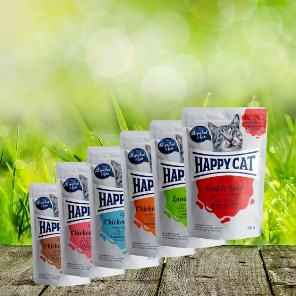 Happy Cat Pouches - Meat in Sauce - Pouch Adult sortiert 6 x 85 gr.