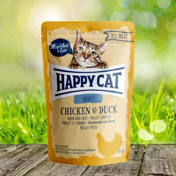 Happy Cat Pouches - All Meat - Pouch Adult Huhn & Ente 24 x 85 gr.