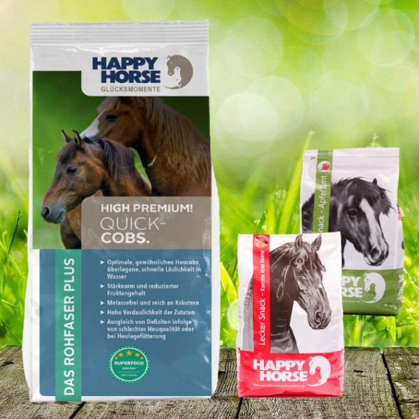 """Happy Horse Superfood """"Quick-Cobs"""" - Heucobs 14 kg + 2 x 1 Kg Happy Horse Lecker Snack"""