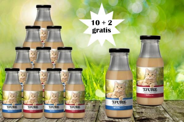 TJURE für Katze - Mixpaket Pute & Reis + Geflügel & Kartoffel 10 + 2 GRATIS