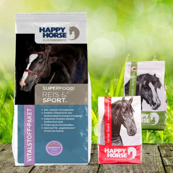 "Happy Horse Superfood ""Reis & Sport"" 14 kg + 2 x 1 Kg Happy Horse Lecker Snack"