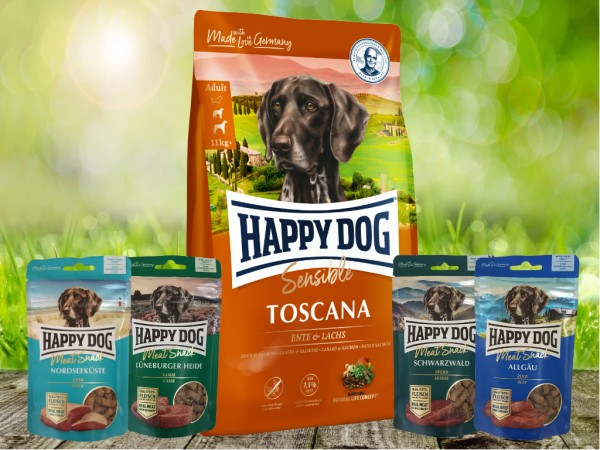 Happy Dog Supreme Toscana 12,5 kg + Meat Snack 4 x 75 g sortiert