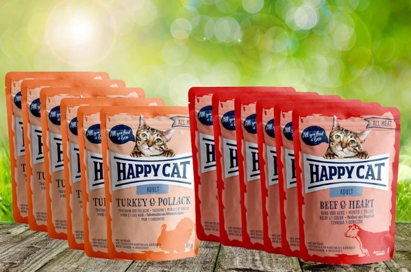 *Aktion* Happy Cat Pouches ALL MEAT Vorteilspaket / Mixpaket - 48 Stück a´ 24 x 85 g. = 48 Stück kau