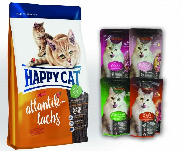 Happy Cat Adult Atlantik Lachs + 4 x 85 gr. Leonardo Nassfutter sortiert im Frischebeutel *Gratis*