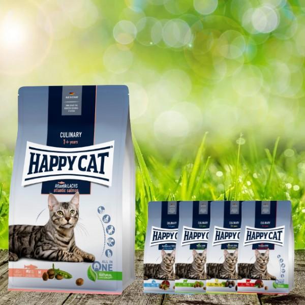 Happy Cat Culinary Adult Atlantik Lachs 10 kg + 4 x 300 Gramm Probierbox