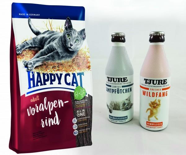 Happy Cat Adult Voralpen Rind 10 kg + TJURE für Katzen - Doppelpack Zartes Samtpfötchen & Frecher Wi