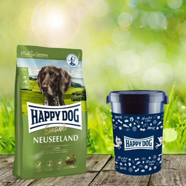 Happy Dog Supreme Sensible Neuseeland inkl. Happy Dog Futtertonne 43 Liter