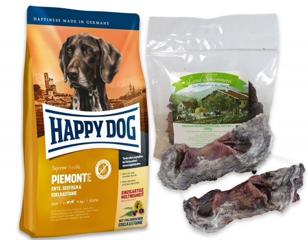 Feinkost Rinderschnautzen mit Fell 1000 gr. + Happy Dog Sens. Supreme PIEMONTE 4 kg