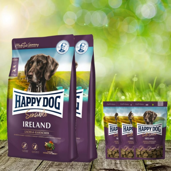 25 kg Happy Dog Supreme Ireland 2 x 12,5 kg + 3 x 100 g. Happy Dog Soft Snack Ireland geschenkt