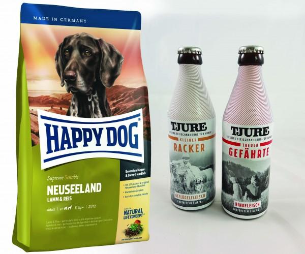 Happy Dog Supreme Neuseeland 12,5 kg + TJURE für Hunde - Doppelpack Treuer Gefährte & Kleiner Racker