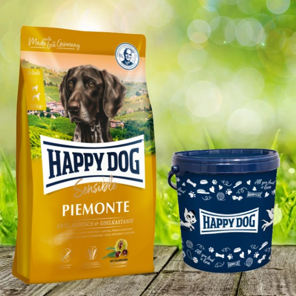 Happy Dog Supreme Sensible Piemonte inkl. Happy Dog Futtertonne