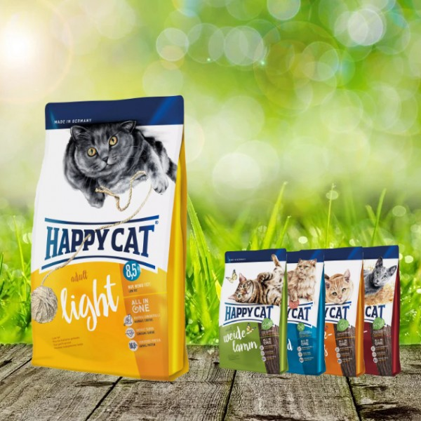 Happy Cat Adult Light 10 kg + 4 x 300gr. Probierbox sortiert
