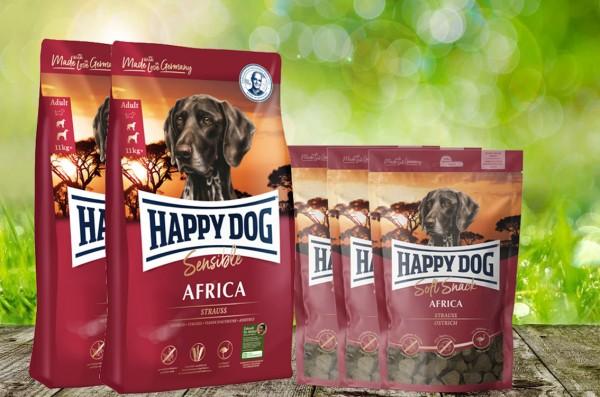 25 kg Happy Dog Supreme Africa 2 x 12,5 kg + 3 x 100 g. Happy Dog Soft Snack Africa geschenkt