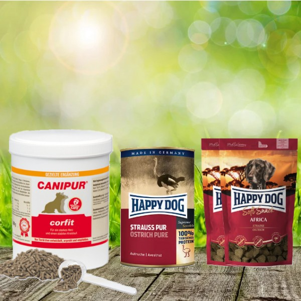 Canipur corfit 150 g + 2 HD Soft Snack Afrika + 1 HD Strauß pur 400 g