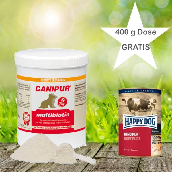 Canipur multibiotin 150 g + 400g Happy Dog Pur Dose *Gratis*