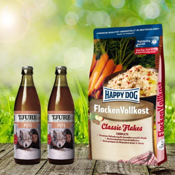 Happy Dog Flocken Vollkost 10 kg + 2 x 0,32 l Tjure Pute&Reis