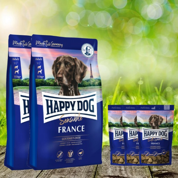 25 kg Happy Dog Supreme France 2 x 12,5 kg + 3 x 100 g. Happy Dog Soft Snack France geschenkt