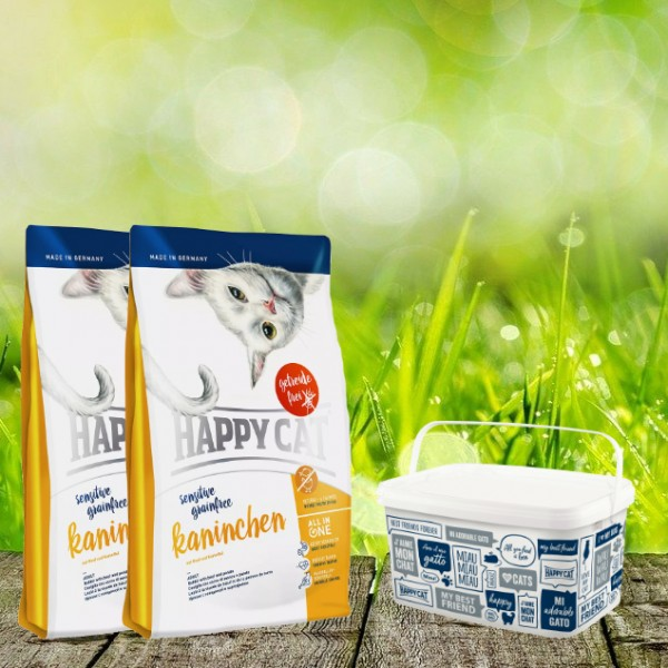 Happy Cat Sensitive Grainfree Kaninchen 2 x 4 Kg + Happy Cat-Dog Futtereimer 6,2 Liter