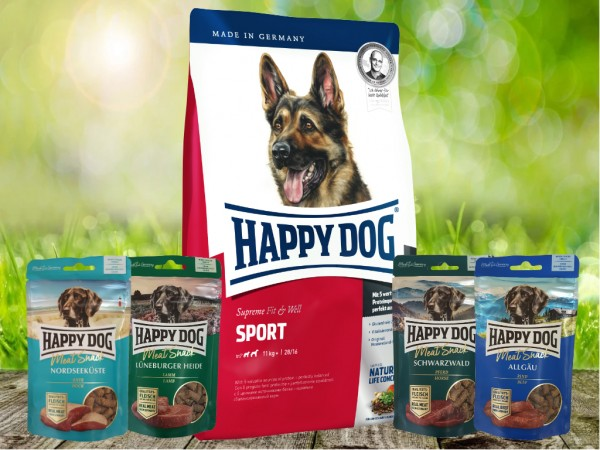 Happy Dog Fit & Well Sport Adult 15 kg + Meat Snack 4 x 75 g sortiert