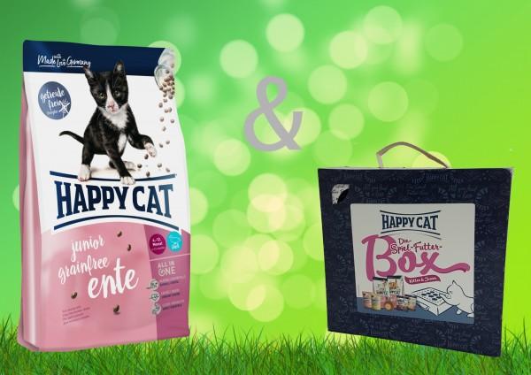 Happy Cat Junior Ente Grainfree 4 kg + Spiel-Futter-Box Kitten & Junior