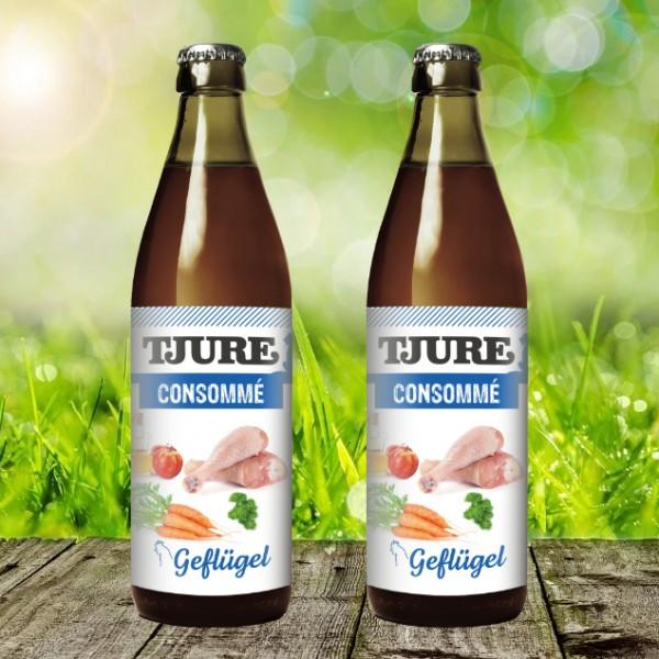 Tjure Consommé Geflügel 320 ml - Der Hit für Katzen - Doppelpack