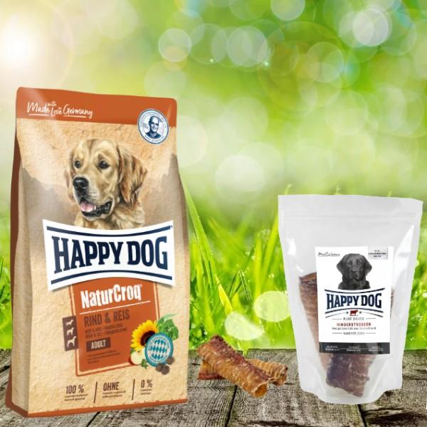Happy Dog Premium NaturCroq Rind und Reis 15 kg + HD Rinderstrossen 500 g
