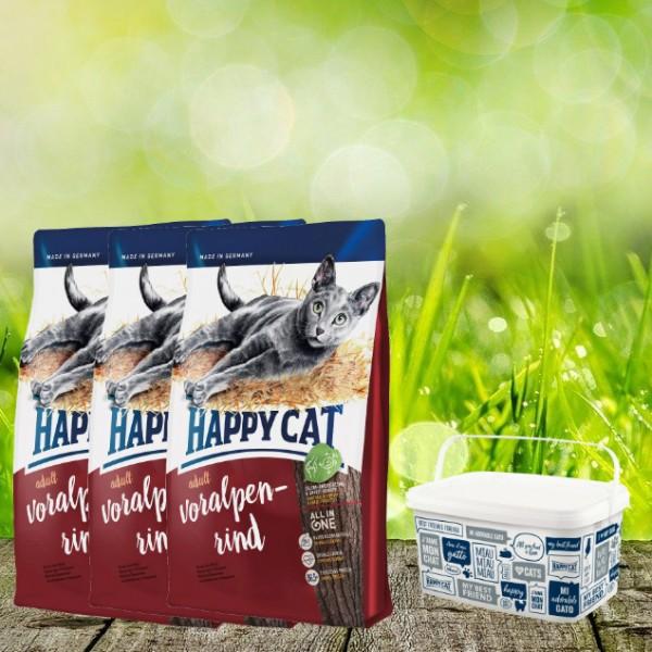 Happy Cat Supreme Adult Voralpen-Rind 3 x 4 kg + Happy Cat / Dog Futtereimer 6,2 Liter