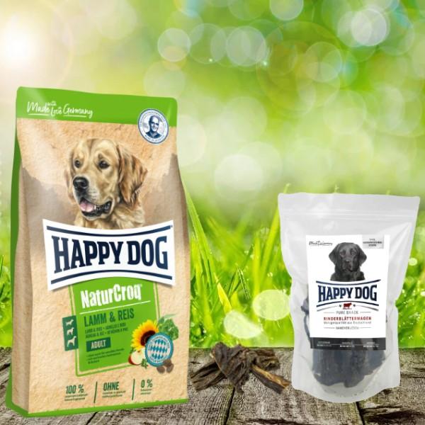 Happy Dog Premium NaturCroq Lamm und Reis 15 kg + HD Rinderblättermagen 500 g