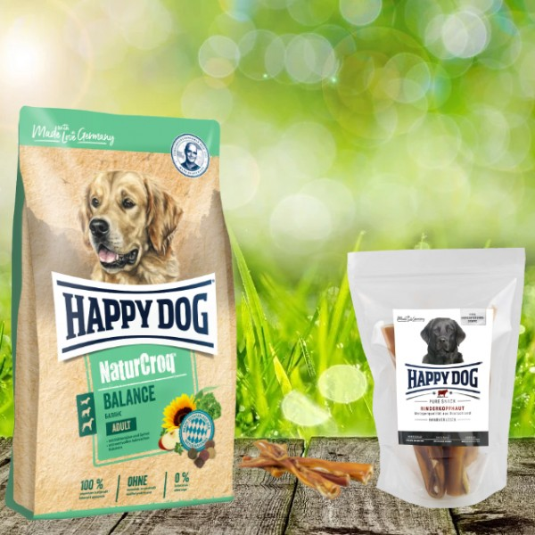Happy Dog Premium NaturCroq Balance 15 kg + HD Rinderkopfhaut 500 g