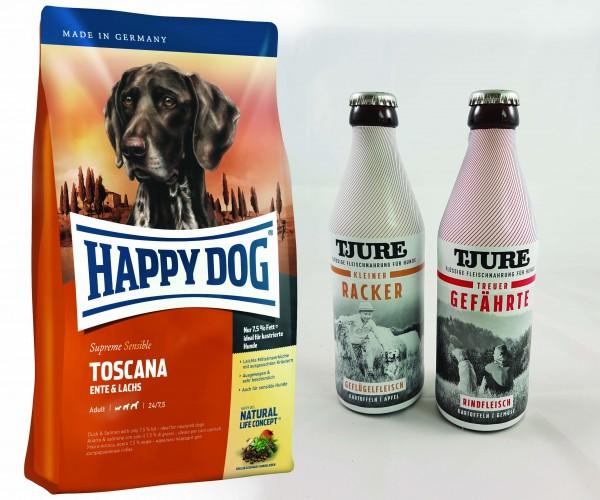 Happy Dog Supreme Toscana 12,5 kg + TJURE für Hunde - Doppelpack Treuer Gefährte & Kleiner Racker 2