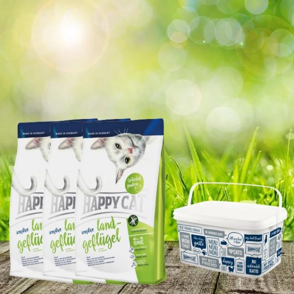 Happy Cat Sensitive Glutenfrei Land-Geflügel 3 x 4 Kg + Happy Cat-Dog Futtereimer 6,2Liter
