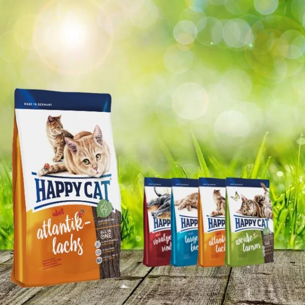 Happy Cat Adult Atlantik Lachs 10 kg + 4 x 300gr. Probierbox sortiert