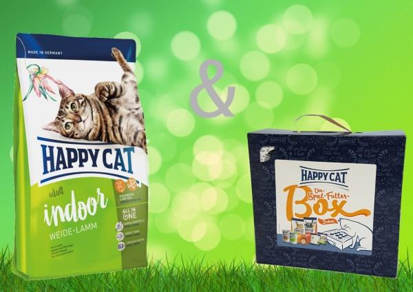 Happy Cat Weide Lamm Indoor 10 kg + Spiel-Futter-Box Indoor