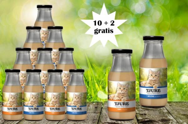 TJURE für Katze - Mixpaket Rind & Kartoffel + Geflügel & Kartoffel 10 + 2 GRATIS