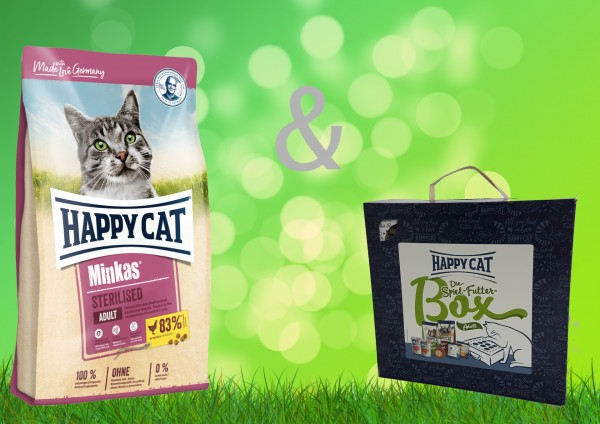 Happy Cat Minkas Sterilised Adult 10 kg + Spiel-Futter-Box Adult