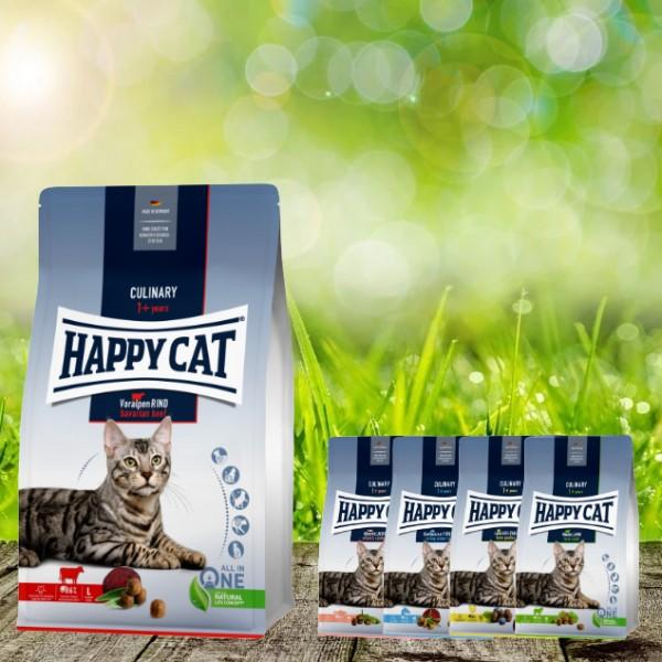 Happy Cat Culinary Adult Voralpen Rind 10 kg + 4 x 300 Gramm Probierbox
