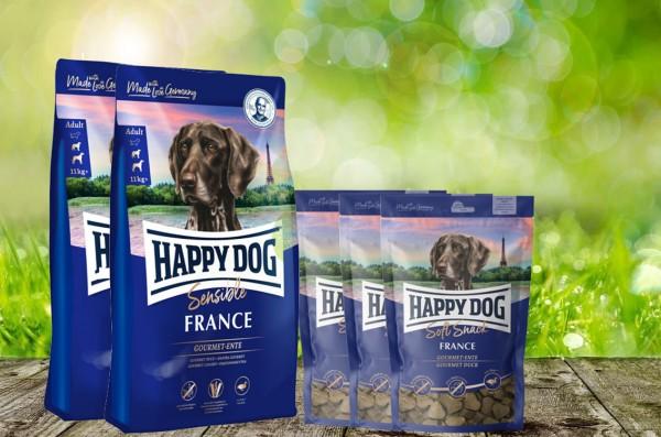 25 kg Happy Dog Supreme France 2 x 12,5 kg + 3 x 100 g. Happy Dog Soft Snack France geschenkt