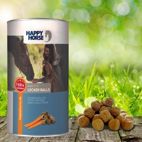Happy Horse Lecker Balls Karotte 4 x 300 Gramm - für Pferde und Hunde