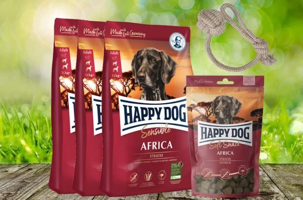 Happy Dog Supreme Africa 3 x 4 kg + 1 x 100 g. Happy Dog Soft Snack Africa + Hundewurfball geschenkt